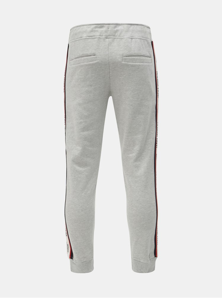 Pantaloni sport gri deschis melanj cu dungi Jack & Jones Vision