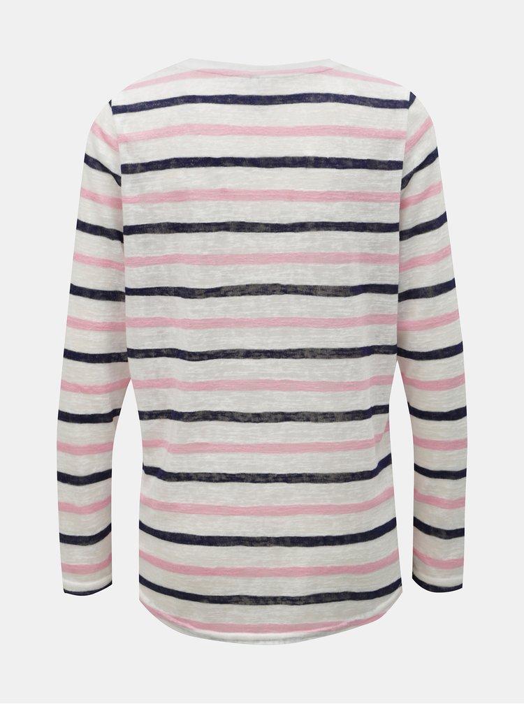 Růžovo-bílé pruhované tričko ONLY Dina