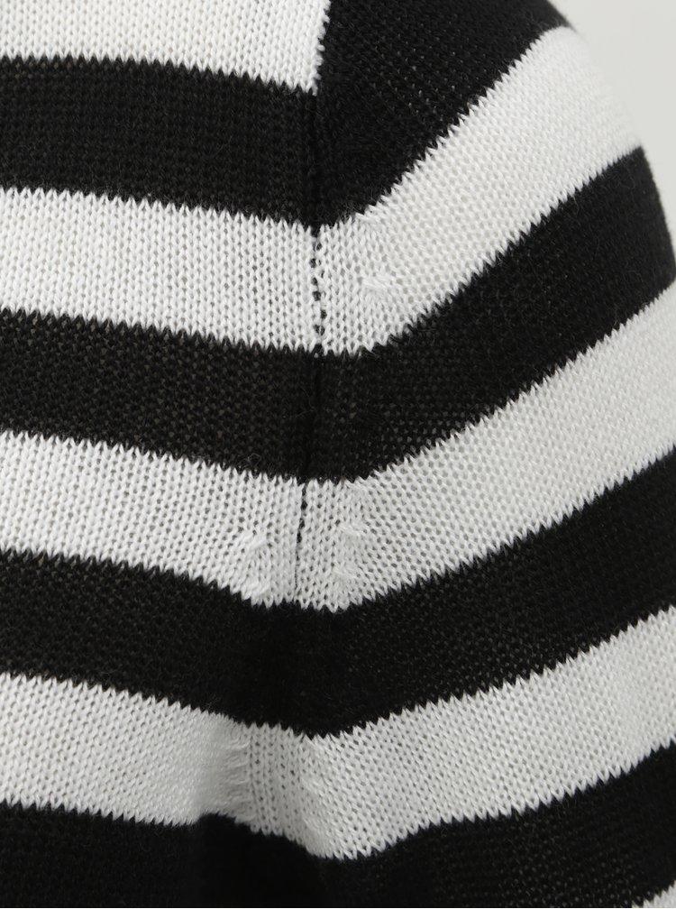Pulover alb-negru in dungi cu nasturi ONLY Dorthea
