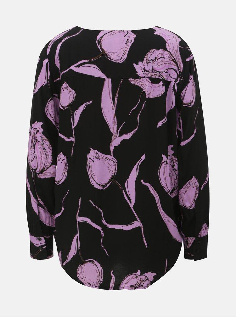 Bluza mov-negru florala Jacqueline de Yong Isha