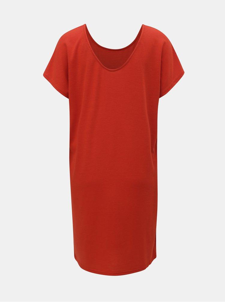 Červené basic šaty s krátkým rukávem Jacqueline de Yong Camilla