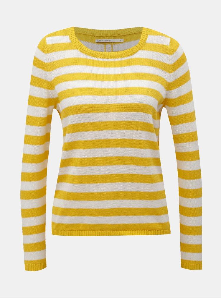 Bílo-žlutý pruhovaný svetr s knoflíky ONLY Dorthea