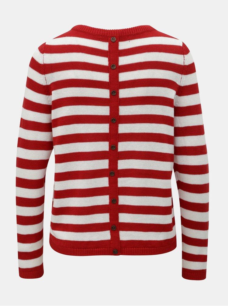 Bílo-červený pruhovaný svetr s knoflíky ONLY Dorthea