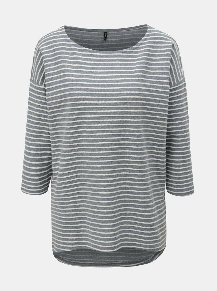 Bílo-šedé pruhované volné tričko s 3/4 rukávem ONLY Elly