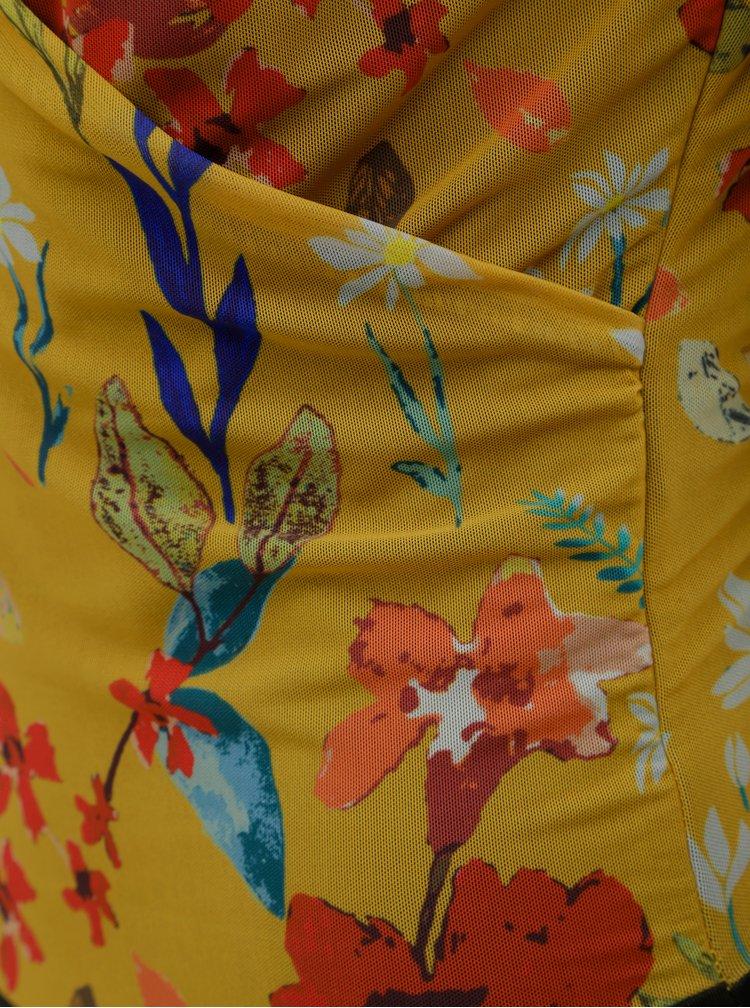 Hořčicové květované body s překládaným výstřihem ONLY Stine
