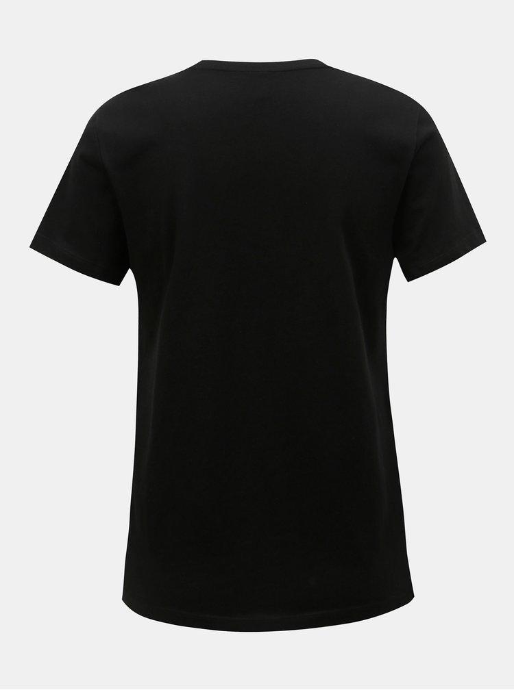 Tricou negru cu imprimeu si margele ONLY Tally