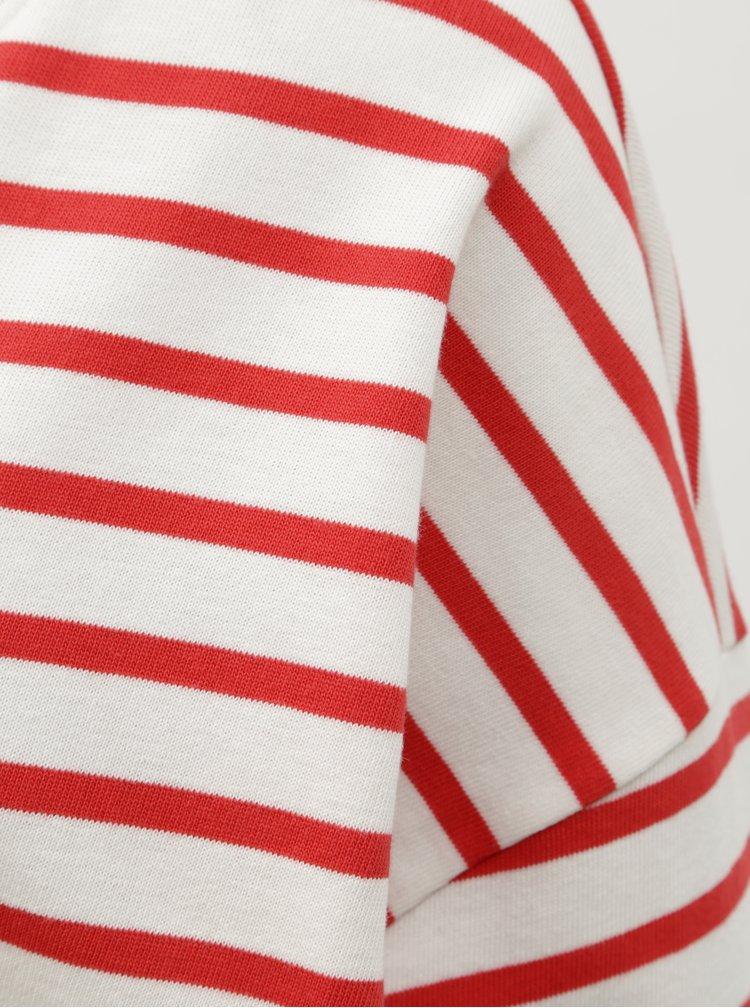 Červeno–biela pruhovaná voľná basic mikina ONLY Rain