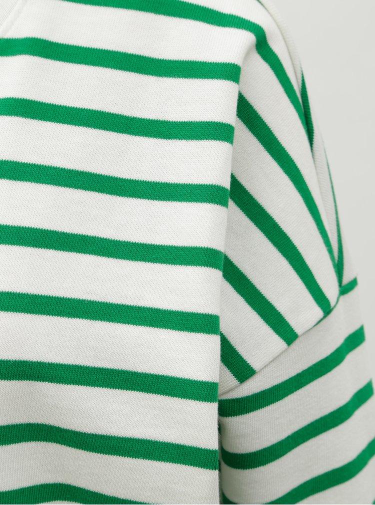 Zeleno-bílá pruhovaná volná basic mikina ONLY Rain