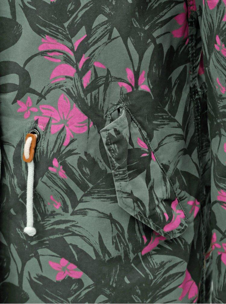 Khaki květovaná lehká parka s potiskem ONLY New Demi