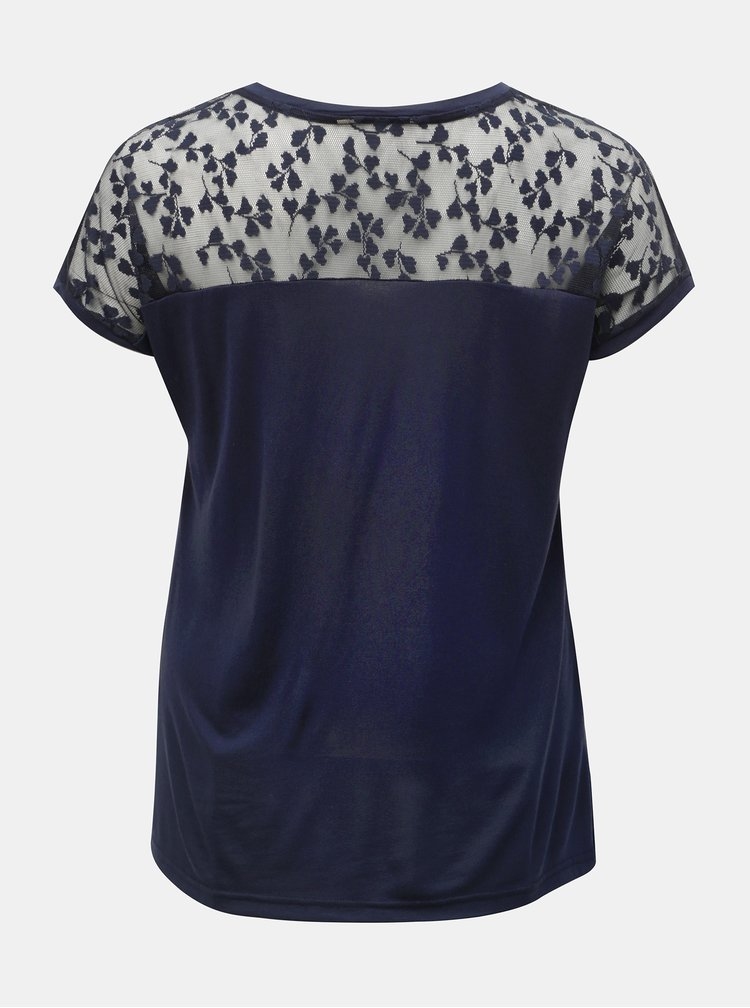 Tricou albastru inchis cu dantela ONLY CARMAKOMA Linn