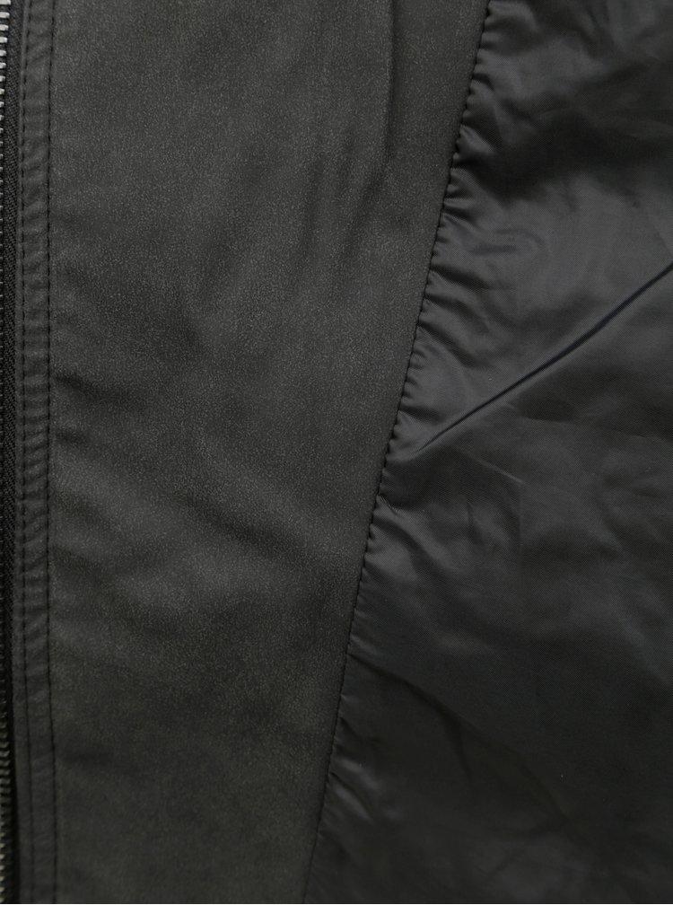 Tmavosivá koženková bunda ONLY CARMAKOMA Avana