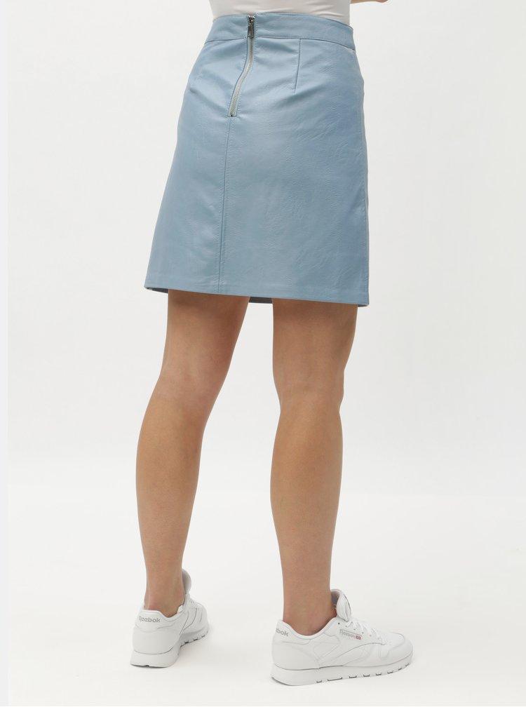 Světle modrá koženková sukně ONLY Allison