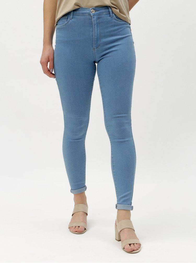Světlé modré skinny džíny vysokým pasem ONLY Rain