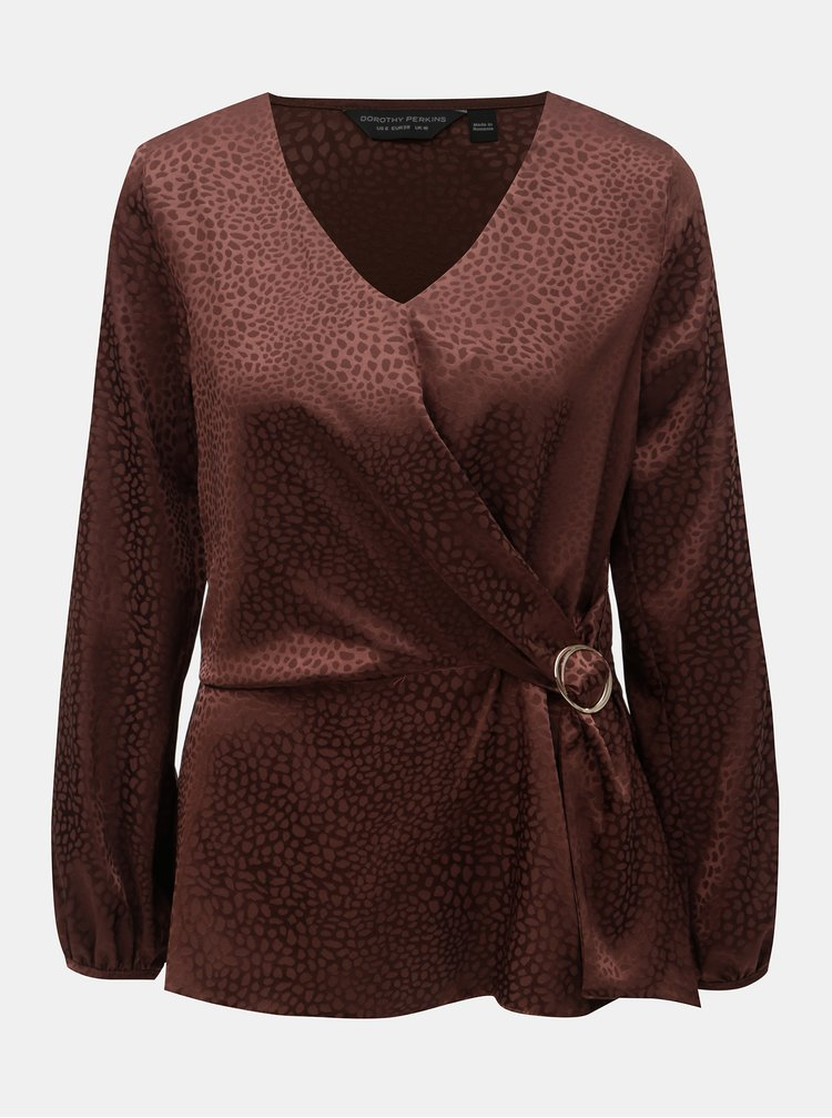 Bluza maro cu model si catarama decorativa Dorothy Perkins