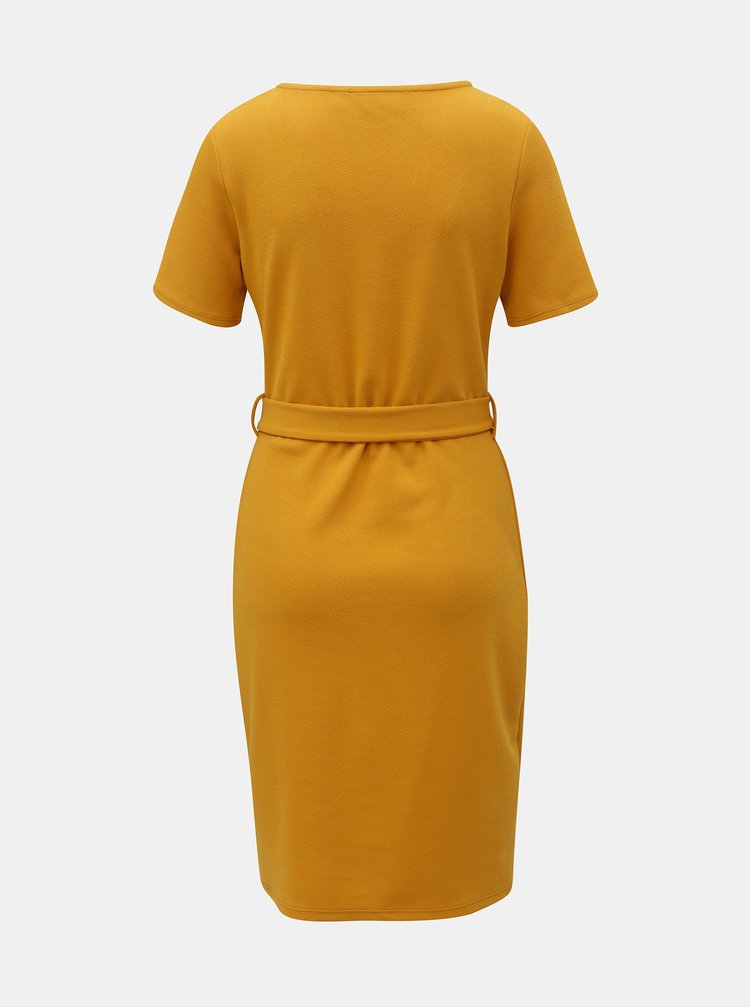 Horčicové puzdrové šaty s ozdobným opaskom Dorothy Perkins Tall