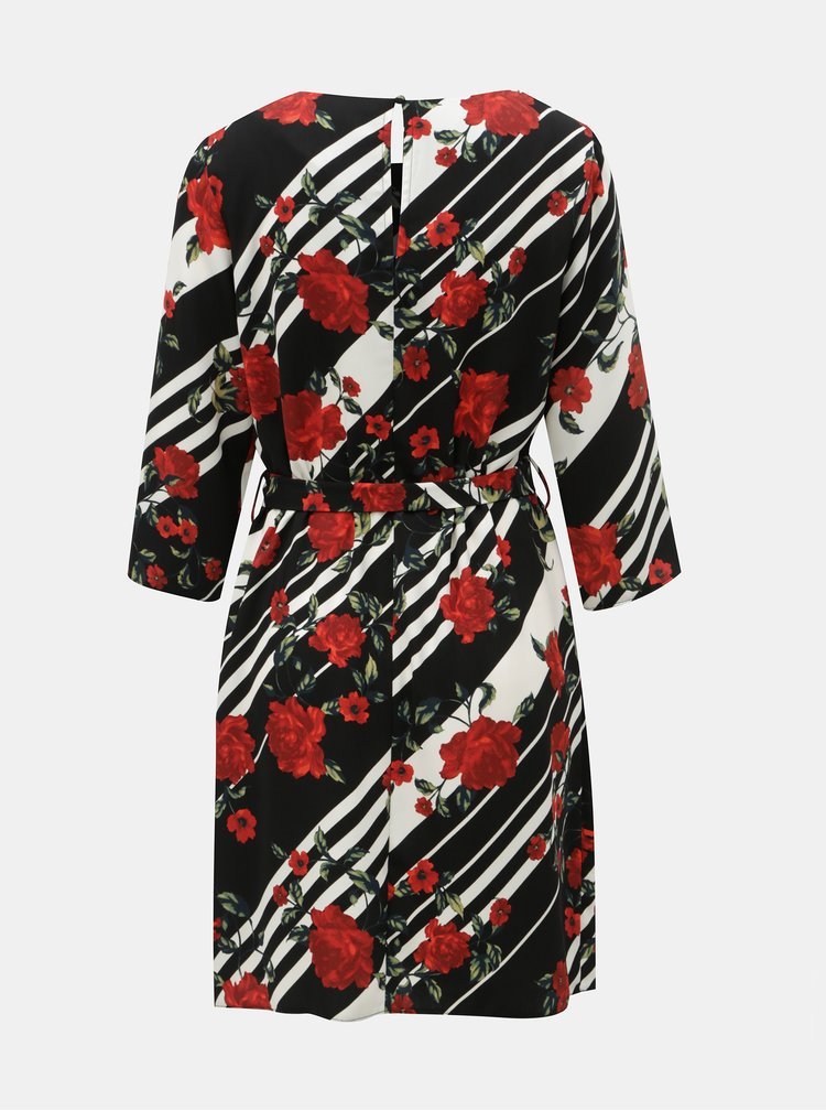 Červeno-černé vzorované šaty s odnímatelným páskem Dorothy Perkins