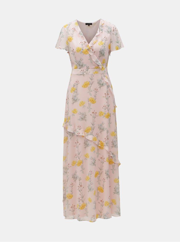 Rochie maxi roz florala cu decolteu suprapus Dorothy Perkins