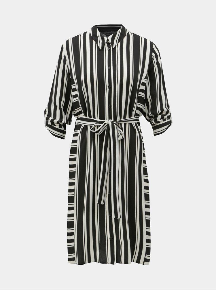 Černo-bílé pruhované košilové šaty Dorothy Perkins