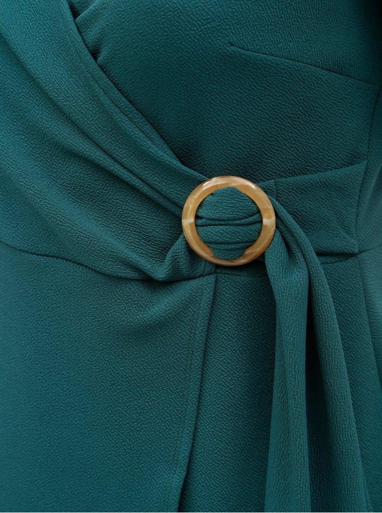 Petrolejové šaty s prekladaným výstrihom Dorothy Perkins Curve