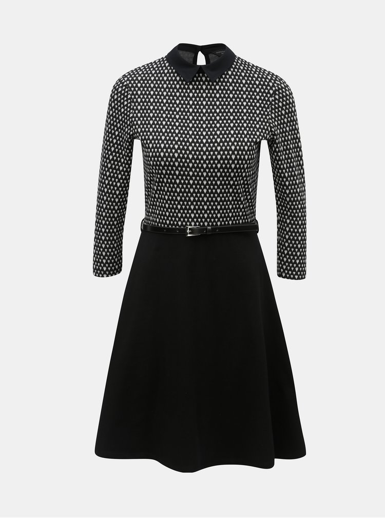 Bílo-černé vzorované šaty s páskem Dorothy Perkins