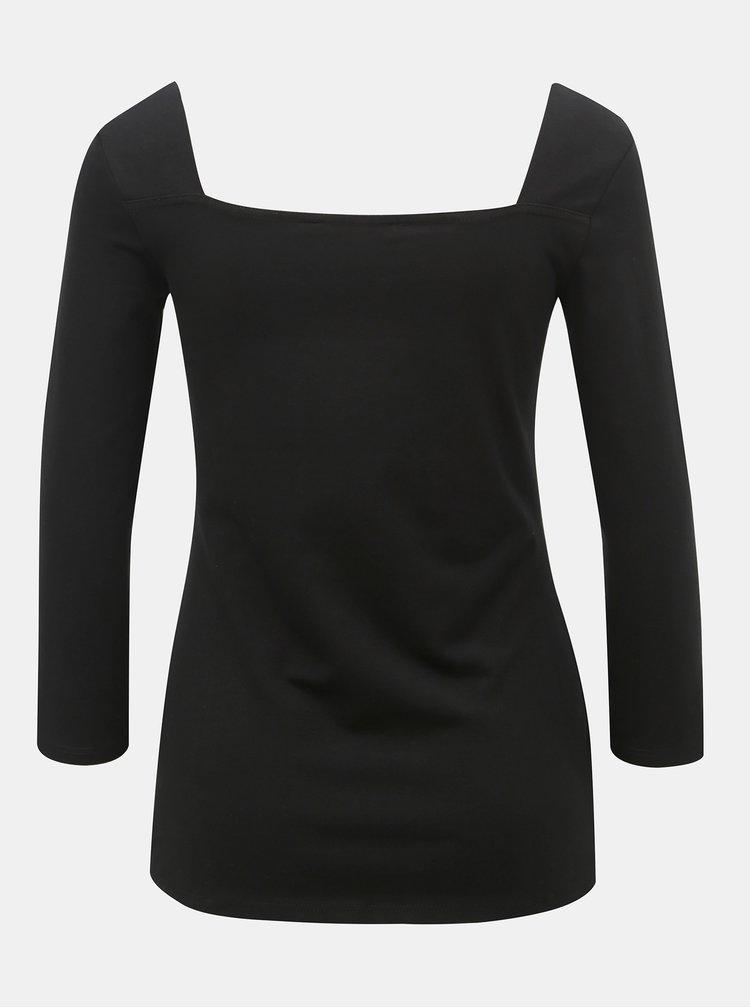 Černé tričko s 3/4 rukávem Dorothy Perkins