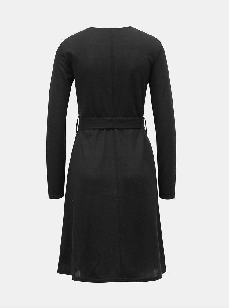 Černé svetrové šaty s páskem Dorothy Perkins