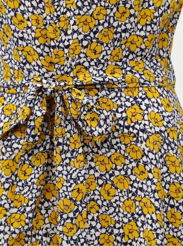 Rochie midi albastru-galben florala Billie & Blossom