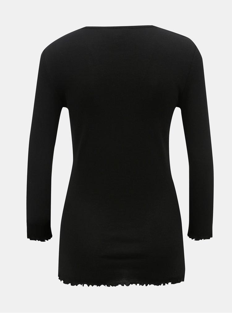 Tricou negru cu terminatii decorative Dorothy Perkins