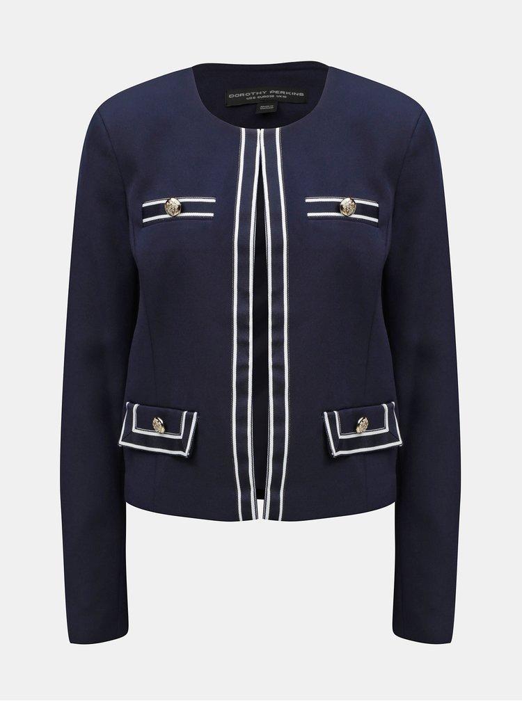 Tmavě modré sako s bílým lemem Dorothy Perkins