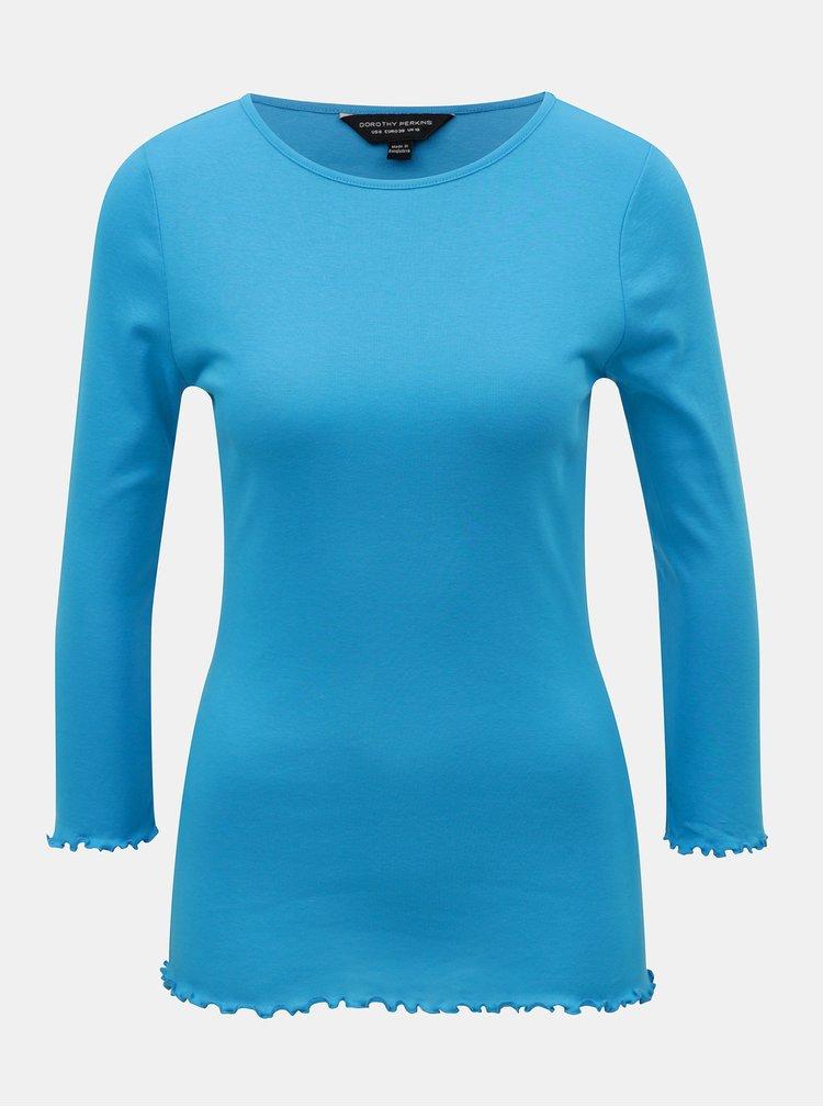 Modré tričko s ozdobným lemom Dorothy Perkins