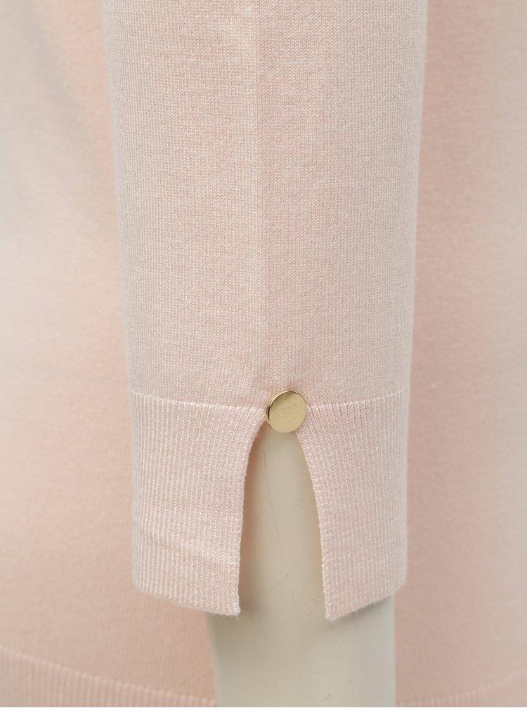 Svetloružový tenký sveter s 3/4 rukávom Dorothy Perkins