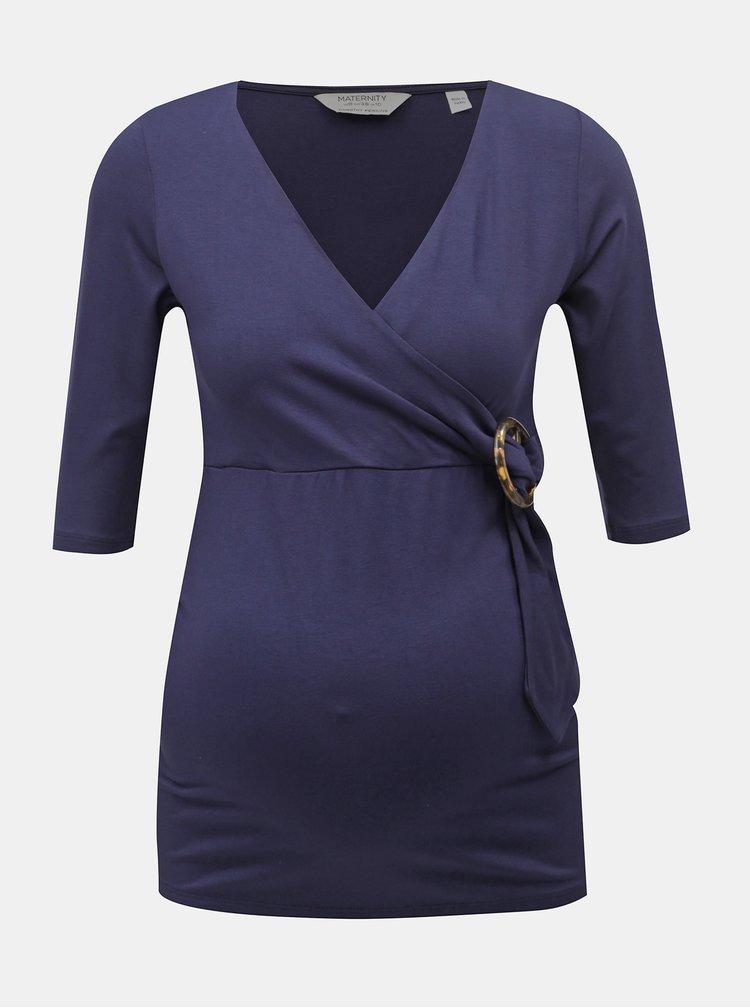 Tricou albastru inchis pentru femei insarcinate cu catarama decorativa Dorothy Perkins Maternity