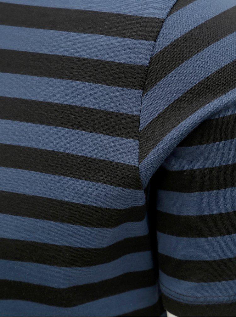 Modro–čierne pruhované basic tričko Selected Homme