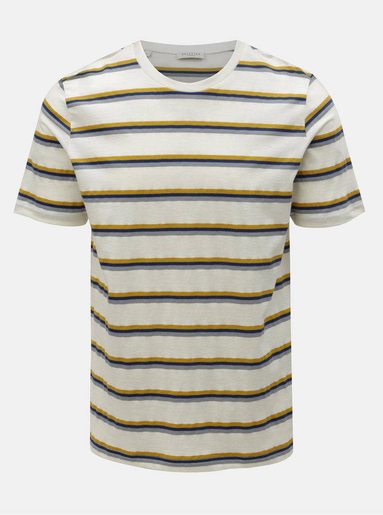 Tricou crem in dungi Selected Homme