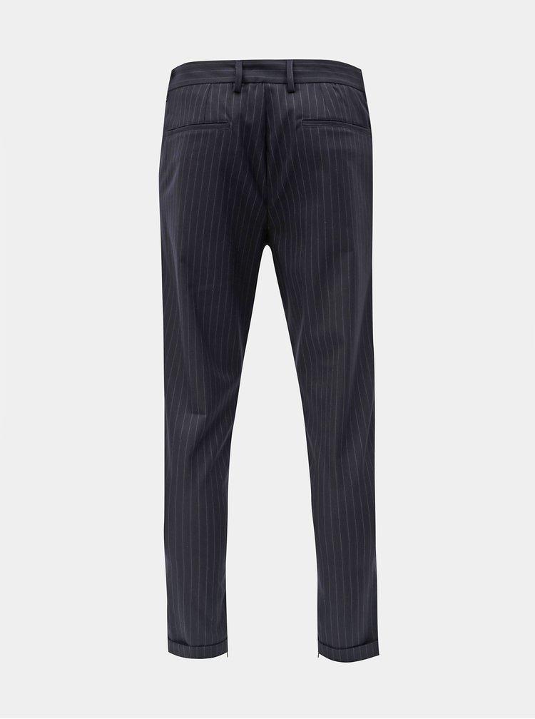 Pantaloni albastru inchis in dungi pana la glezne Selected Homme Alex