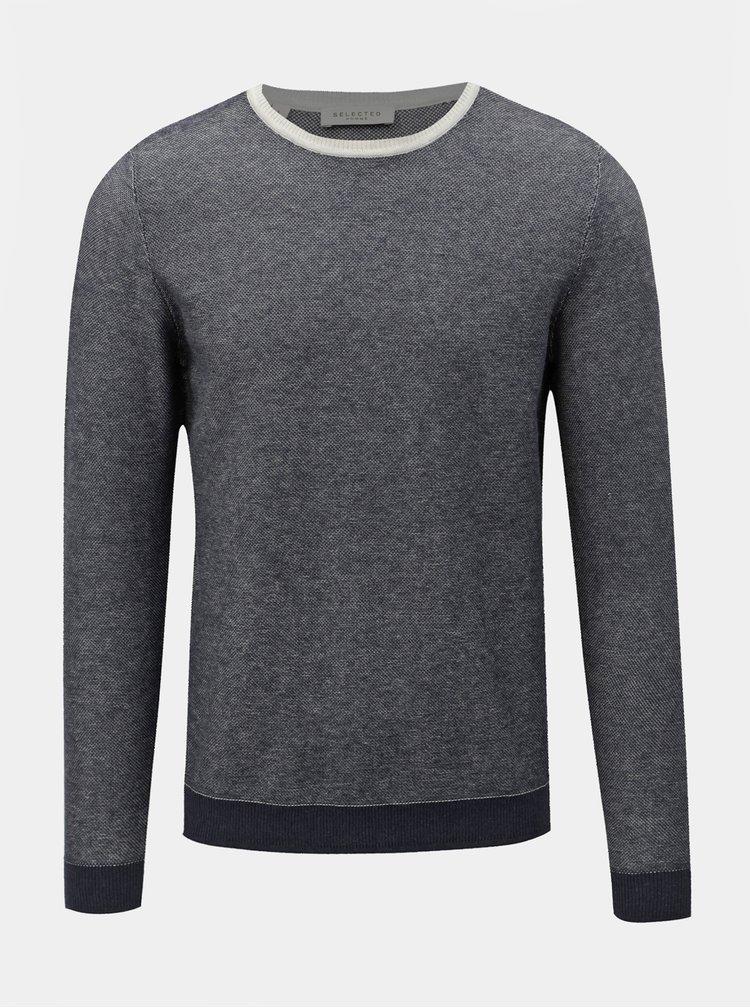 Modrý žíhaný svetr s příměsí vlny Selected Homme Bran