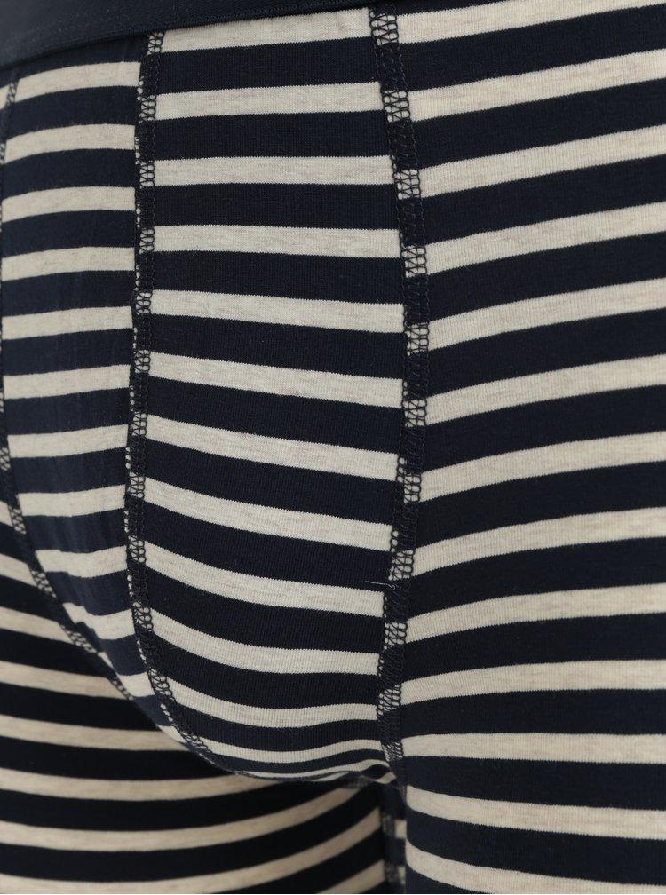 Krémovo–modré pruhované boxerky Selected Homme Classic