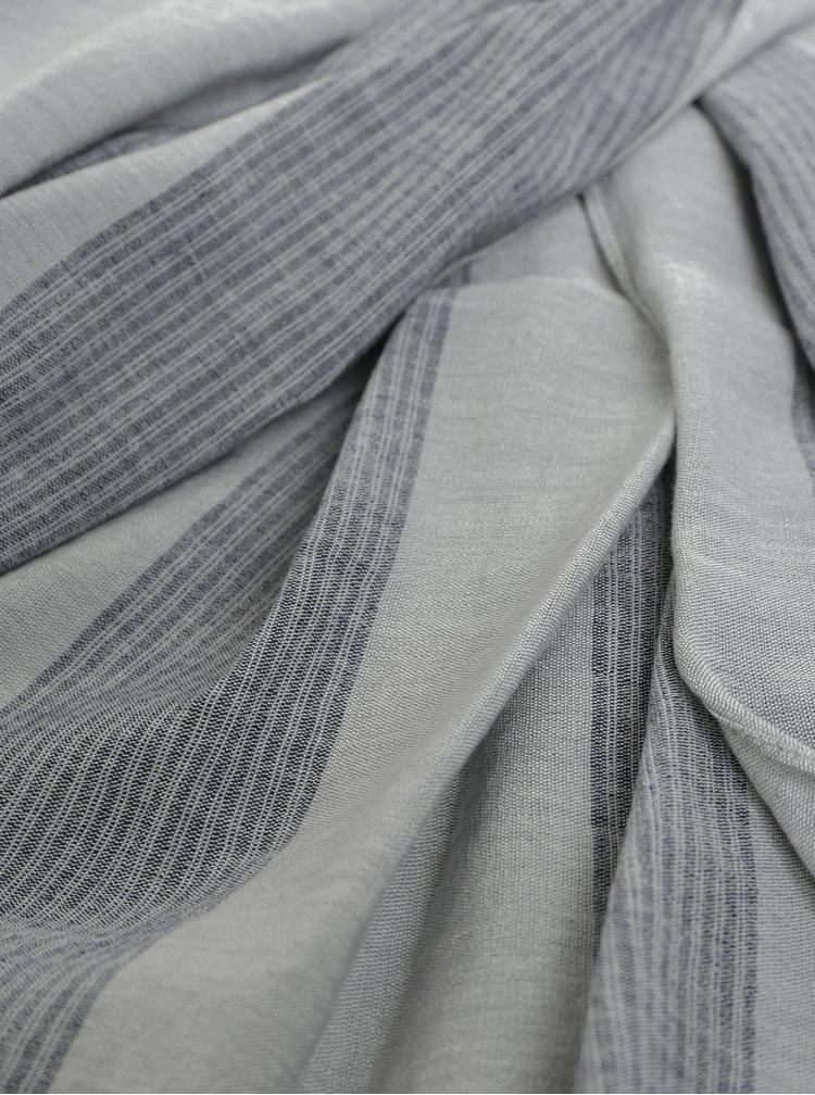 Šedý pruhovaný šátek Selected Homme Brody