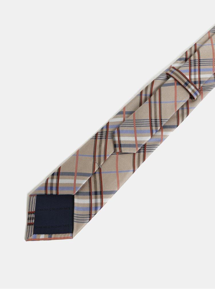 Béžová kostkovaná hedvábná kravata Selected Homme Noah