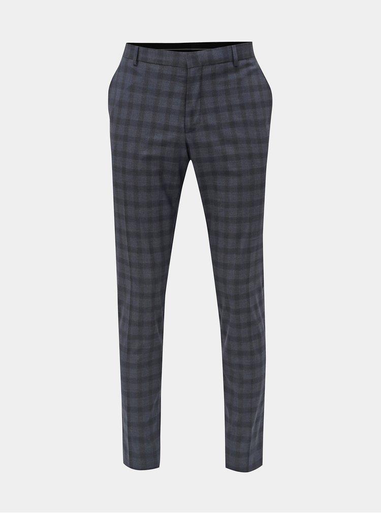 Tmavomodré kockované oblekové slim nohavice Selected Homme Logan
