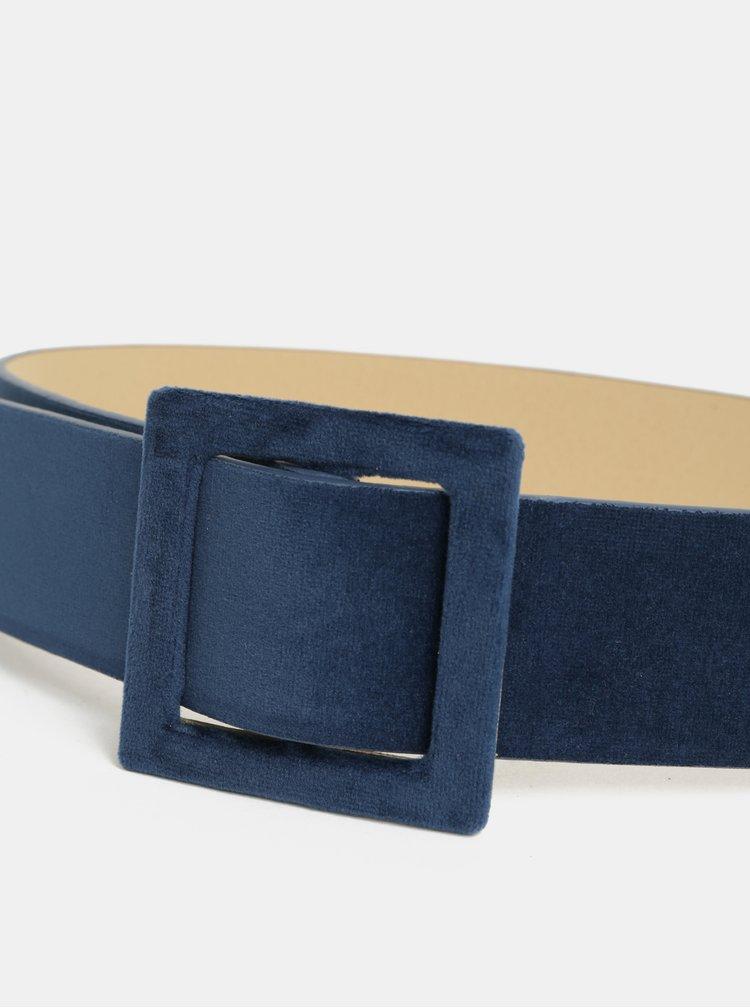 Curea albastru inchis catifelata Pieces Brelyn