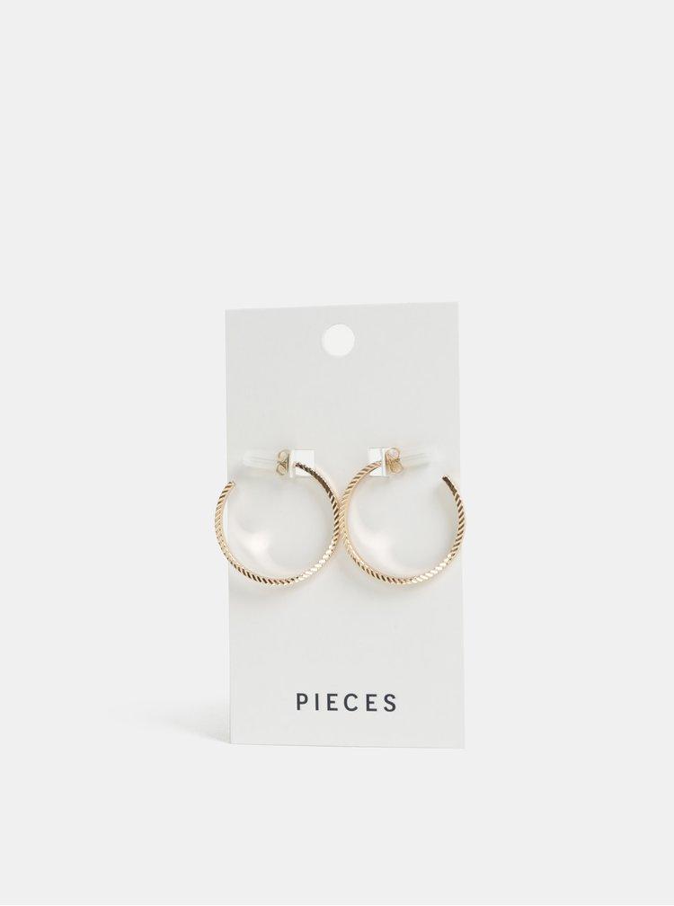 Kruhové vzorované náušnice ve zlaté barvě Pieces Sandra