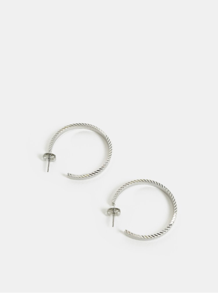Kruhové vzorované náušnice ve stříbrné barvě Pieces Sandra
