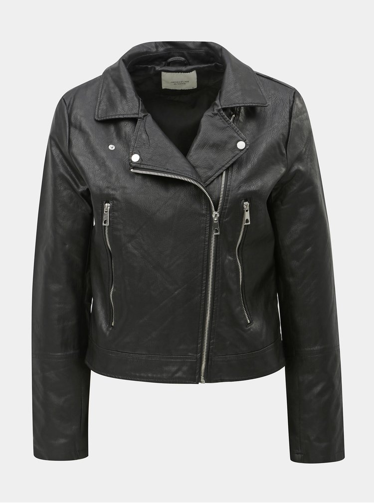 Jacheta biker neagra din piele sintetica Jacqueline de Yong Ilde