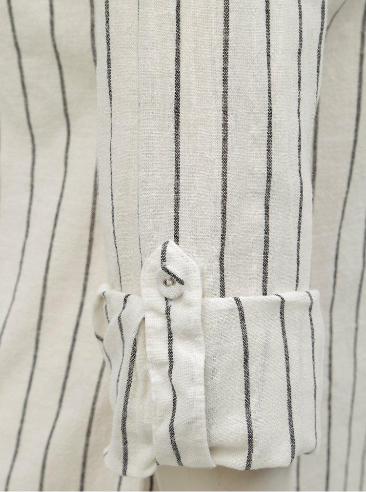 Sivo–krémová pruhovaná košeľa s prímesou ľanu Dorothy Perkins