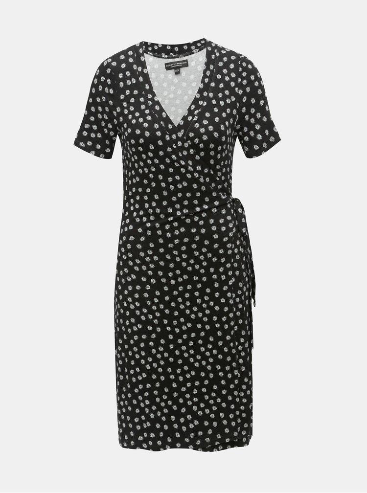 Čierne kvetované zavinovacie šaty Dorothy Perkins