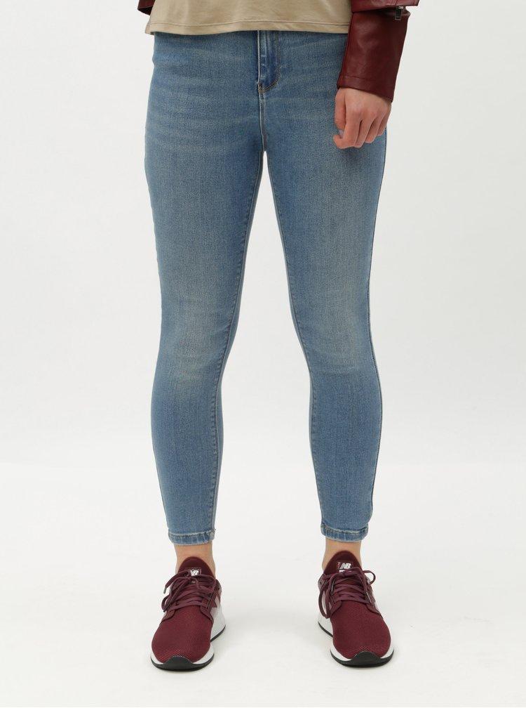 Světle modré zkrácené skinny džíny s vysokým pasem ONLY Mila