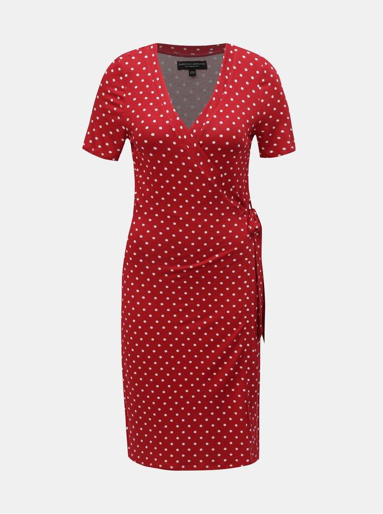 Červené puntíkované zavinovací šaty Dorothy Perkins