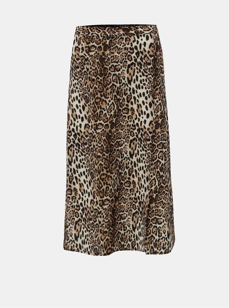 Fusta bej-maro cu motiv leopard Dorothy Perkins