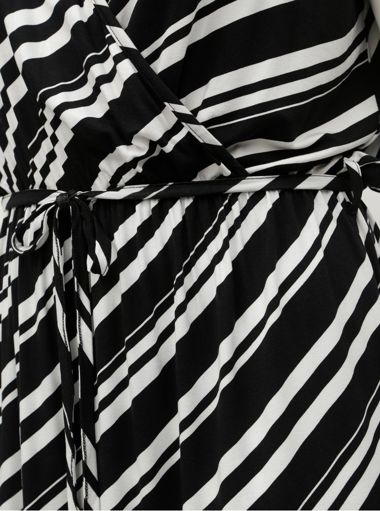 Rochie maxi alb-negru in dungi Dorothy Perkins Curve